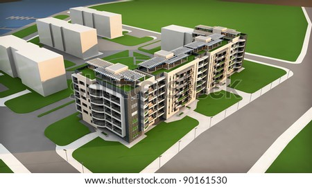 3d rendering of the building - stock photo