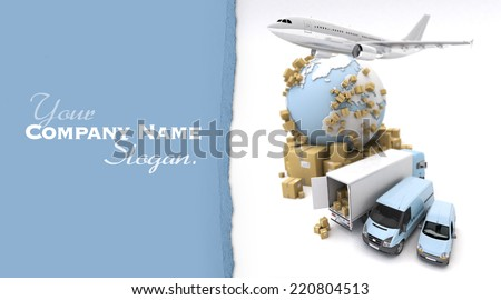 3D rendering of the Earth, cardboard boxes, a van, a truck and a flying plane. The Earth comes from the Nasa free of use images - stock photo