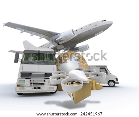 3D rendering of the Earth surrounded by an airplane, truck, van and a flying drone with a package attached - stock photo