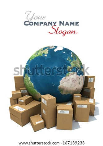 3D rendering of the Earth with a heap of cardboard boxes. The map texture comes from the Nasa free of use images - stock photo
