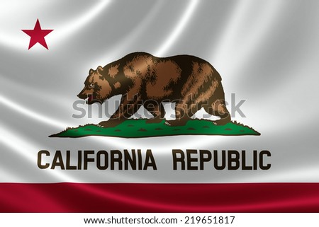 3D rendering of the flag of California on satin texture. - stock photo