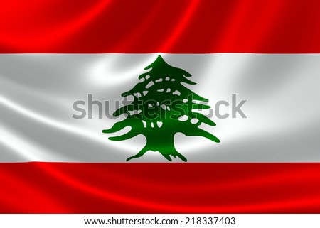 3D rendering of the flag of Lebanon on satin texture. - stock photo