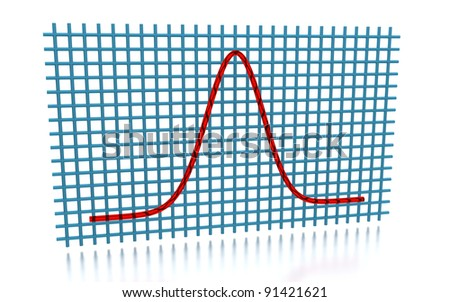 3D rendering of the Gaussian curve - stock photo
