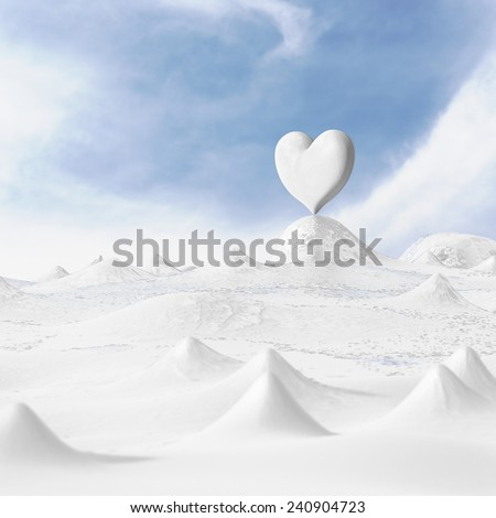 3d rendering of the heart with winter on snow. - stock photo
