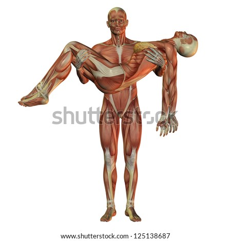 3D rendering of the human muscle man wearing woman - stock photo