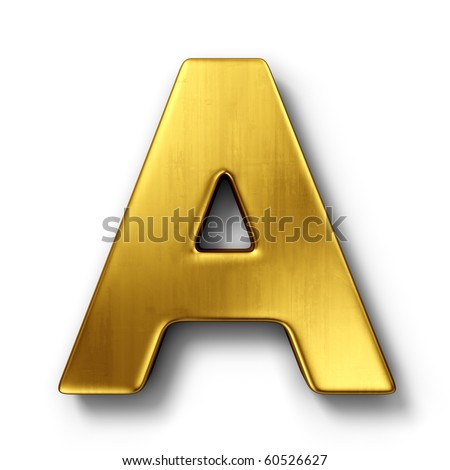 3d rendering of the letter A in gold metal on a white isolated background. - stock photo