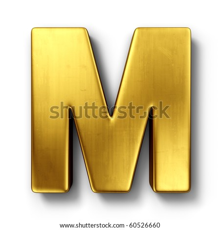 3d rendering of the letter M in gold metal on a white isolated background. - stock photo