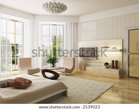 3d rendering of the modern bedroom - stock photo