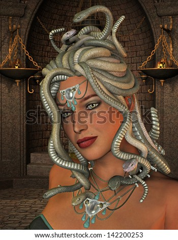 3D rendering of the mythological Medusa in the throne room - stock photo