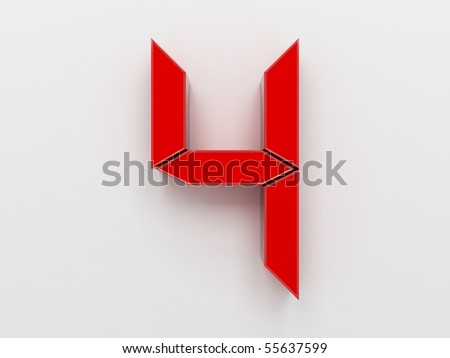 3D rendering of the number 4 - stock photo