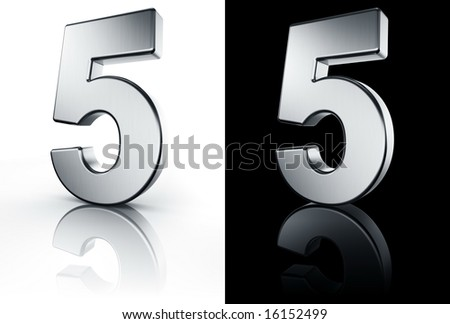 3d rendering of the number 5 in brushed metal on a white and black reflective floor. - stock photo