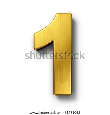 3d rendering of the number 1 in gold metal on a white isolated background. - stock photo