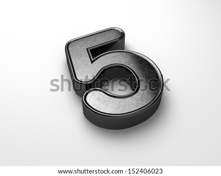 3d rendering of the number 5 scratched metal  - stock photo