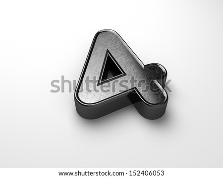 3d rendering of the number 4 scratched metal  - stock photo
