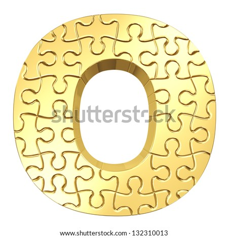 3d rendering of the puzzle letter O in gold metal on a white isolated background. - stock photo