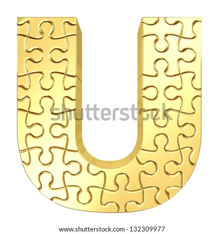 3d rendering of the puzzle letter U in gold metal on a white isolated background. - stock photo