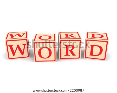 "3D rendering of the word ""word"" spelled with children's alphabet wood cubes. - stock photo"