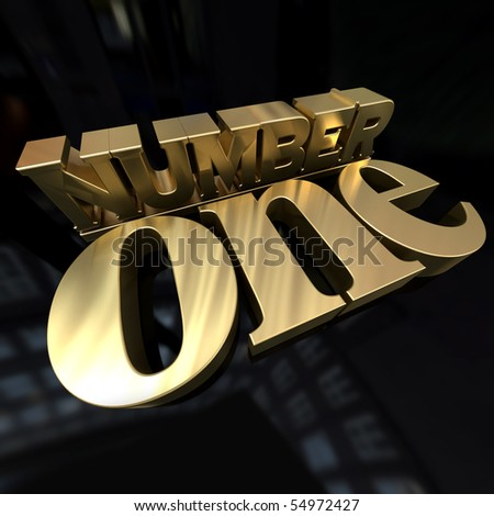 3D rendering of the words number one in gold on a black background - stock photo