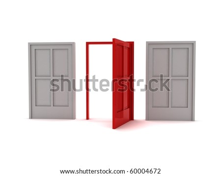 3D rendering of three doors symbolizing the options or choices that can be made in life - stock photo
