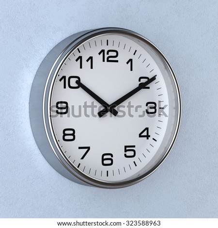 3d rendering of time concept with watch or clock on the wall - stock photo