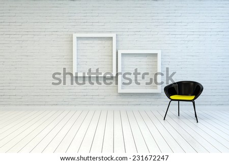 3D Rendering of Tub chair alongside two empty square white wooden picture frames on a white brick wall and wooden parquet floor in a simple minimalist home or gallery interior - stock photo