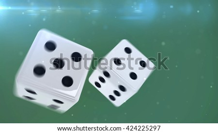 3D rendering of Two blue gambling dices are falling down isolated on green . closeup isolated - stock photo