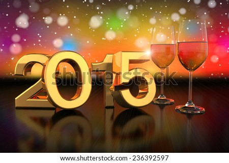 3D rendering of two champagne glasses and the numbers of the new year 2015 on glass table with a colorful bokeh background. - stock photo