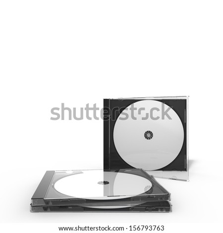 3d rendering of two disc cases, isolated on white background - stock photo