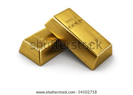 3d rendering of two gold bars - stock photo