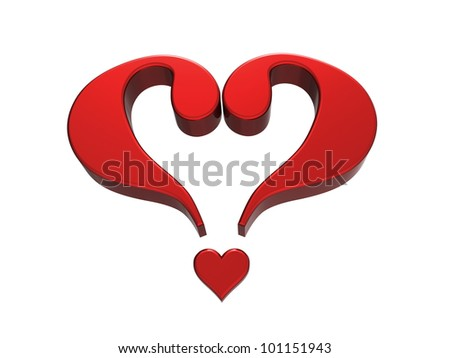 3d rendering of two question marks forming the shape of a heart - stock photo
