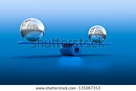 3d rendering of two spheres in balance - stock photo