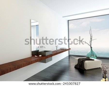 3D Rendering of Wall-mounted hand basin in a minimalist luxury bright airy white bathroom with an ottoman and decorative glass vase in front of a large floor-to-ceiling window with sky view - stock photo