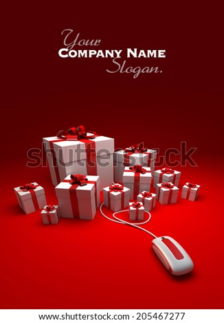 3D rendering of white and red presents connected to a computer mouse against a red background - stock photo