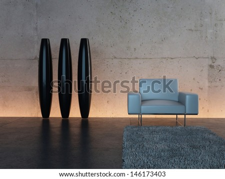 3d rendering of white chair in front of illuminated wall - stock photo