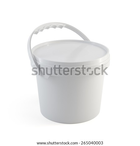3d rendering of white closed paint plastic bucket container with plastic handle isolated on white background - stock photo