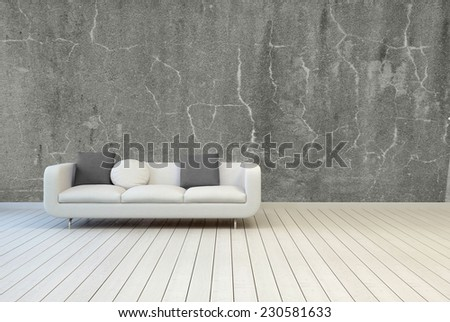 3D Rendering of White Couch with Gray and White Pillows on Empty Vintage Living Room with Gray Concrete Wall and Off White Wooden Floor Design. - stock photo