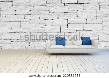 3D Rendering of White Couch with White and Blue Pillows on an Architectural Room with Seamless White Stone Pattern Wall and Wooden Floor Design. - stock photo