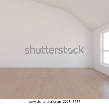 3D Rendering of' white empty room - stock photo