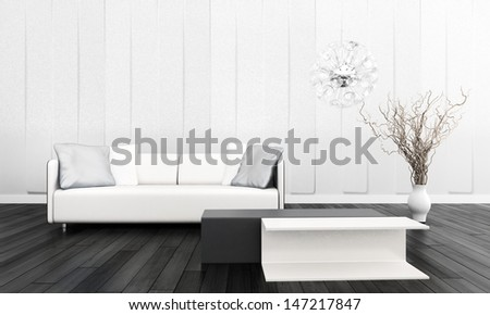 3D rendering of white sofa in living room.  - stock photo