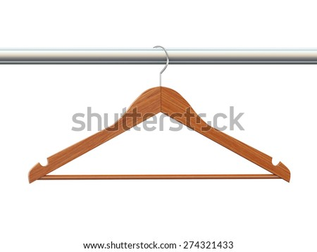 3d rendering of wooden coat cloth hanger - stock photo