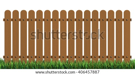 3d rendering of wooden fence with grass isolated over white background - stock photo