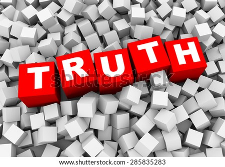 3d rendering of word text truth and abstract cubes boxes background - stock photo