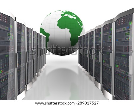 3d rendering of world globe and rows of network computer servers system machines - stock photo