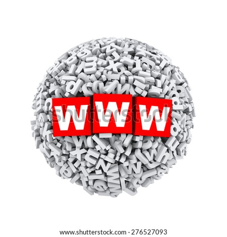 3d rendering of www cubes boxes inside sphere ball made up of random alphabet character letter - stock photo