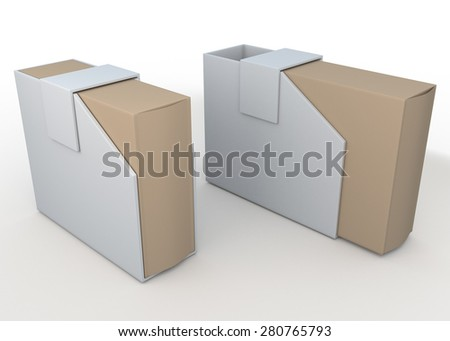 3D Rendering Original Brown and White New Packaging Design for Your Products in Isolated Background with Work paths, Clipping Paths Included. - stock photo