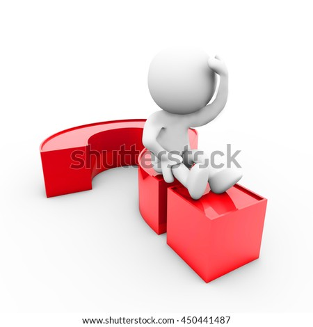 3d Rendering person character sitting on a question mark - stock photo