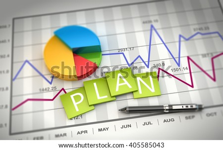 3D Rendering project planning and development, stock exchange market trading. - stock photo