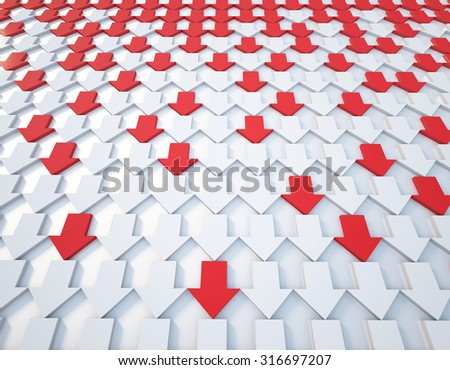 3d rendering red and white arrow background - stock photo