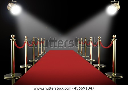 3d rendering red carpet and rope barrier with shining spotlights - stock photo