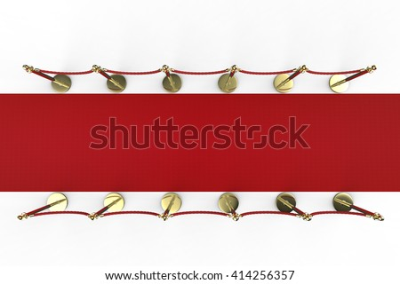 3d rendering red carpet with rope barrier top view - stock photo